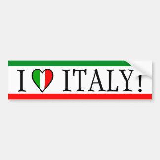J'aime l'Italie ! Drapeau de coeur Autocollant De Voiture