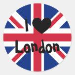 J'aime Londres Autocollants Ronds
