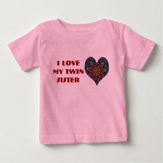 J'aime ma soeur jumelle, chemise d'enfant en bas t-shirt pour bébé