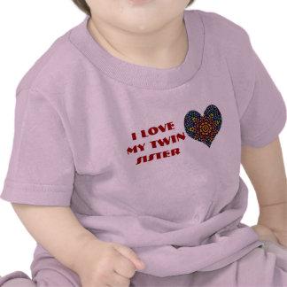 J'aime ma soeur jumelle, chemise d'enfant en bas t-shirt