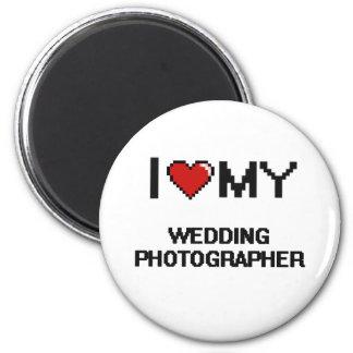 J'aime mon photographe de mariage magnet rond 8 cm