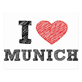 J'aime Munich Carte Postale