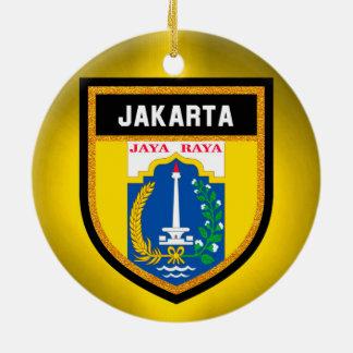 Jakarta-Flagge Rundes Keramik Ornament