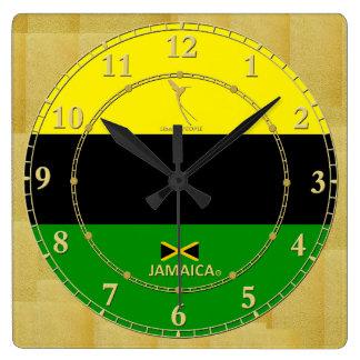 Jamaika färbt Goldmodernen Quadratische Wanduhr