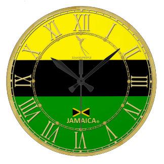 Jamaika färbt Goldrömische Ziffern-moderne Uhr