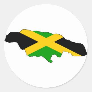 Jamaika-Flaggenkarte Runder Aufkleber