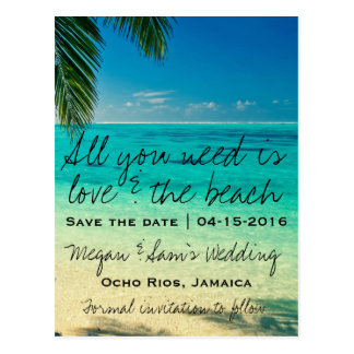 Jamaika-Hochzeit in Urlaubsort Save the Date Postkarte