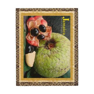 Jamaikas Ackee-Frucht-Brotfrucht-hölzerne Holzdruck