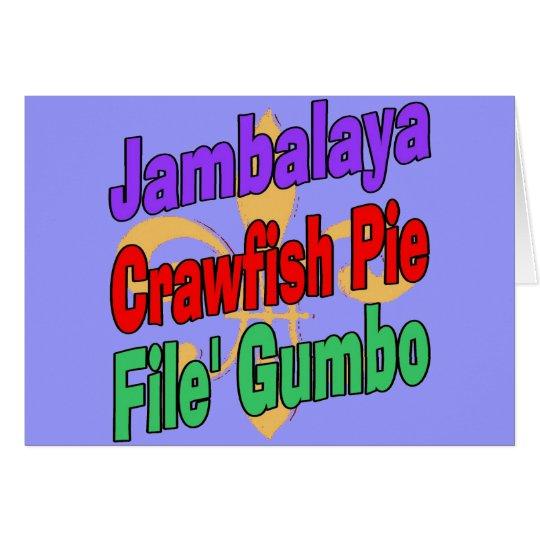 Jambalaya-Panzerkrebs-Torte Cajun Teller Karte