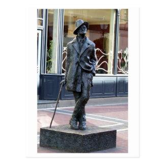 James Joyce, irische Autornskulptur, Dublin-Stadt Postkarte