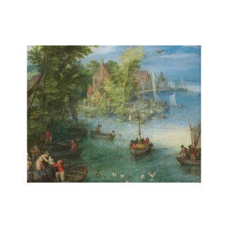 Jan Brueghel das Älteste - Fluss-Landschaft Leinwanddruck