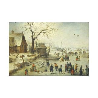 Jan Brueghel das jüngere - Dorfbewohner auf dem Leinwanddruck