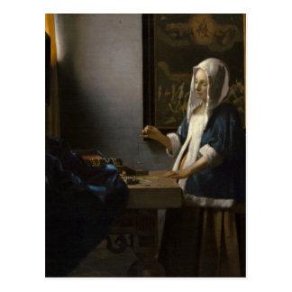 Jan. Vermeer, Frau, die eine Balancen-Postkarte Postkarte
