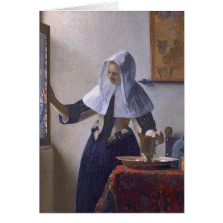 Jan. Vermeer - junge Frau mit einem Wasser-Krug Karte