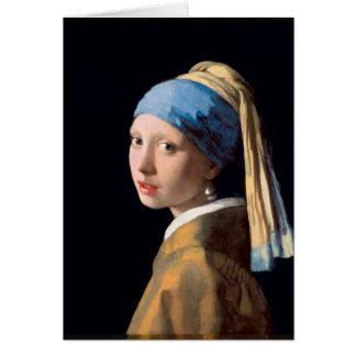 Jan. Vermeer - Mädchen mit einem Perlen-Ohrring Karte