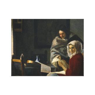 Jan. Vermeer - Mädchen unterbrochen an ihrer Musik Leinwanddruck