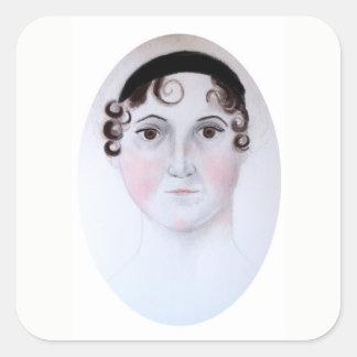 Jane Austen-Aquarellporträtaufkleber Quadratischer Aufkleber
