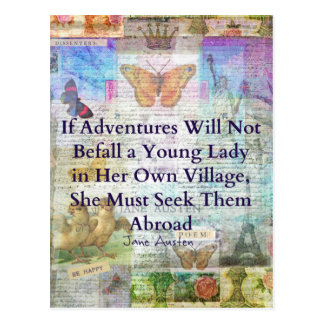 Jane Austen-Reiseabenteuerzitat Postkarte