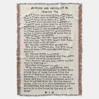 Jane Austen-Stolz und Vorurteil-Literatur-Zitat Decke