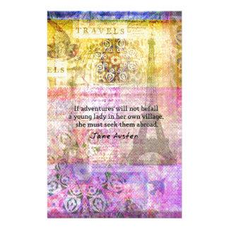 Jane Austen-Zitat über Abenteuer und Reise Briefpapier