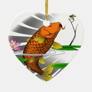 Japaner Koi Fisch-Teich-Entwurf Keramik Herz-Ornament