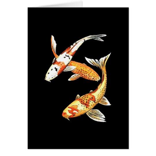 Japaner Koi Goldfisch auf Schwarzem Grußkarte