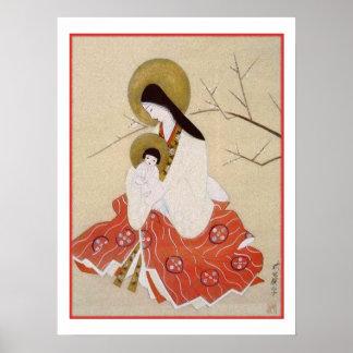 Japaner Madonna und Kind Vintag Poster