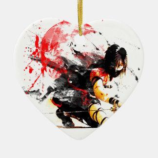 Japaner Ninja Keramik Herz-Ornament