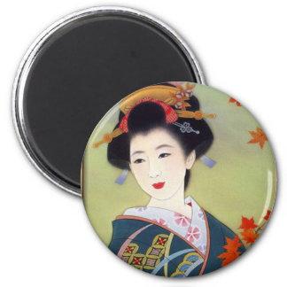Japanische Frau im blauen Kimono Runder Magnet 5,7 Cm