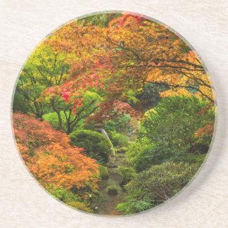 Japanische Gärten im Herbst in Portland, Oregon 2 Sandstein Untersetzer