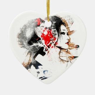 Japanische Geisha Keramik Herz-Ornament