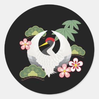 Japanische glückliche Symbol-cooles elegantes Runder Aufkleber