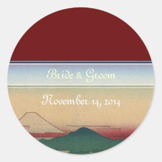 Japanische Hochzeits-Aufkleber der Tama Fluss Runder Aufkleber