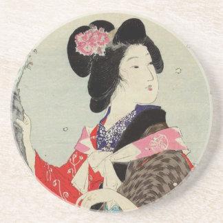 Japanische Kunst Frauen-Damen-Suzuki Kason Sandstein Untersetzer