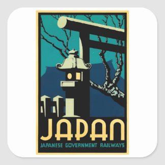 Japanische Regierungs-Eisenbahn-Vintage Weltreise Quadratischer Aufkleber