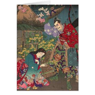 Japanische schöne Geisha-Samurai-Kunst Karte