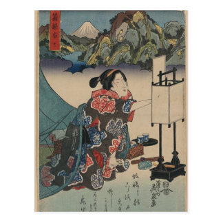 Japanische Vintage Ukiyo-e Dame Mountain Scene Postkarte