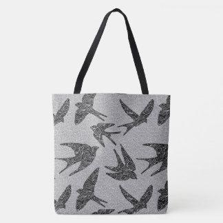 Japanische Vögel im Flug, Holzkohle und hellgraues Tasche