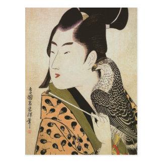 Japanischer Falconer in einer Kimono-Vintagen Postkarte