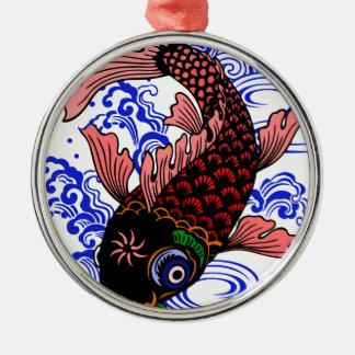 Japanischer Fisch Rundes Silberfarbenes Ornament