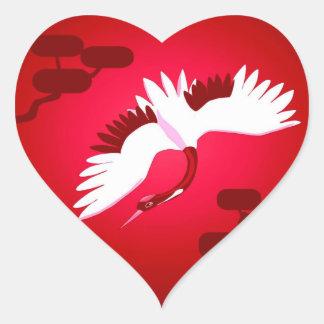 Japanischer Kran Herz-Aufkleber