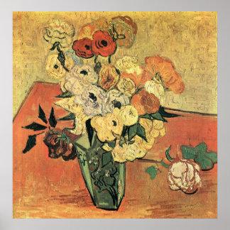 Japanischer Vase, Rosen und AnemoneVincent Van Poster