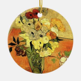 Japanischer Vase Van Gogh mit Rosen und Anemonen Rundes Keramik Ornament