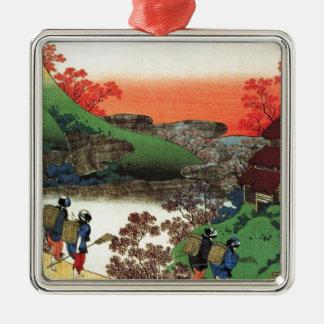 Japanisches Dorf Silbernes Ornament