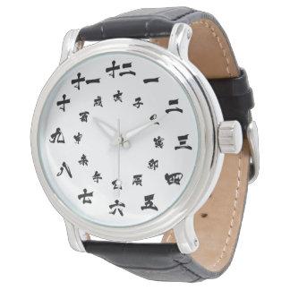 Japanisches Kanji-Tierkreis-Uhr-Weiß Uhr