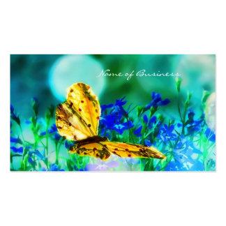 Jardin d'agrément élégant de bleu de papillon cartes de visite personnelles