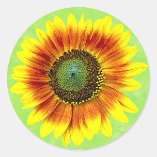 Jardin d'agrément jaune de tournesol et vert sticker rond