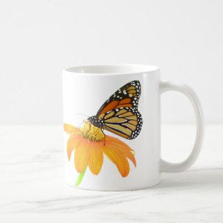 Jardin floral de fleur de tournesol de papillon de mug blanc