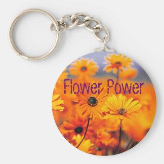 Jardin, flower power porte-clé rond