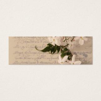 Jasmin auf altem Skripthandschrifts-Lesezeichen Mini Visitenkarte